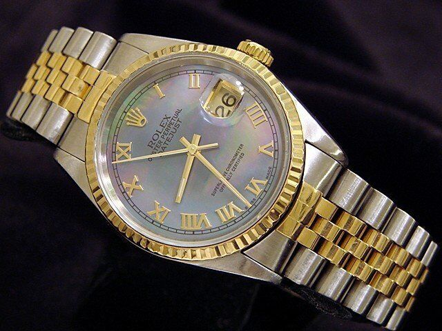 Men Rolex Datejust 18k Gold Stainless Steel Watch Tahitian Black Mop Roman 16233
