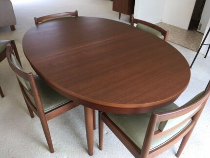 Retro Vintage PARKER DINING SET - Oval extension table and 6 chairs