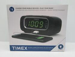 Timex T2351B FM Dual Alarm Clock Radio with USB Charging Port Black [MR24-TX18]
