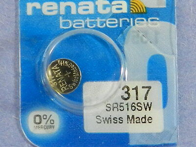 Renata   317  SR516W  Batteries   Button Cell ,1Pcs