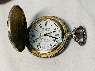 Genova Swiss Made 17 Jewels Vintage Mechanical Wind Up Pocket Watch Parts/Repair