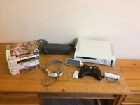 White Xbox 360 with accessories and games
