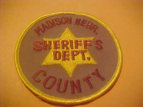 MADISON COUNTY NEBRASKA POLICE PATCH SHOULDER SIZE NEW TYPE 1   4 X 4 INCH