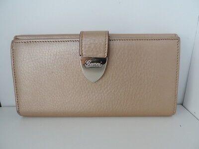 Auth GUCCI 231837 Beige Leather Long Wallet
