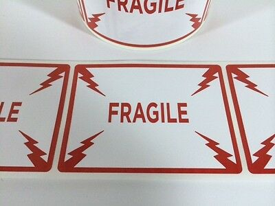 50 Fragile Labels Stickers 4.250 X 3.125red Color 250 New Ebay Shipping New