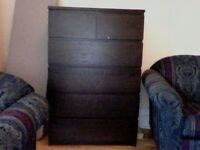 dark wood ikea dresser.