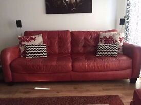 Leather sofa witg foot stool