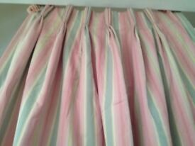 Stripe padded and lined very good quality curtains. L210cm x W94cm. Collect from Fulham