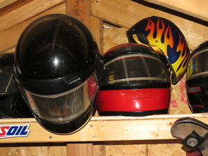 Helmets motorcycle and  snowmobile