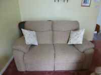 2 Seater brown fabric Sofa and armchair