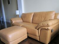 New Leather couch, wood bench, zen stool, desk.,Sony-17,...more