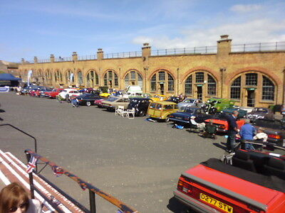 Classic cars line-up Inside the parade ground of the fort