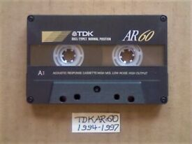 £3 & FREE P&P, GUARANTEED TDK AR 60 PREMIUM CASSETTE TAPES 1994-1997 W/ CARDS CASES LABELS