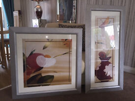 2 Large Silver Framed Oriental Pictures