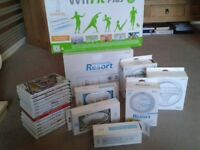Wii fit and Wii fit flus. 13 games 2 steering wheels 2 controllers