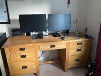 Beautiful Solid OAK 7 drawer desk. SENSIBLE OFFERS WELCOME.
