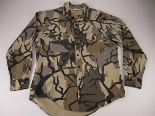Mens Large Predator Camouflage camo chamois hunting field shirt vintage USA