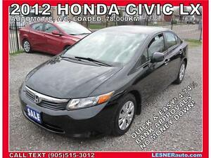 2012 HONDA CIVIC LX LX -AUTO, LOADED, 78,KM- (NO ACCIDENTS)