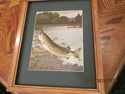Lynn Bogue hunt Musky fishing picture framed wood collectible art