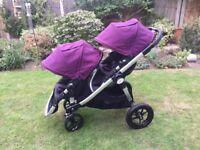 Baby jogger city select double buggy amethyst purple EXCELLENT CONDITION