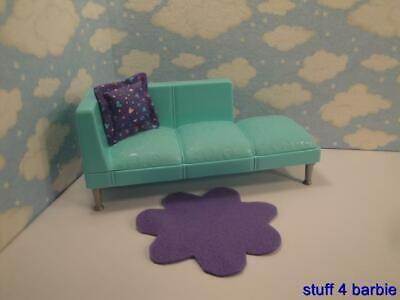 Barbie Doll House Misc Living Room Furniture Accessories-Blue Sofa / Couch&MOre!