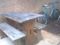 garden Wooden Picnic Table and Benches £35