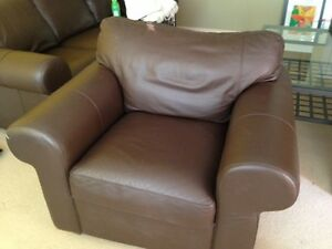 Leather Sofa, chair and coffee table