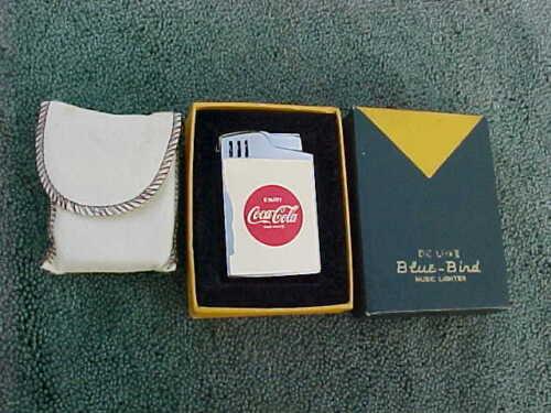 """RARE! Enjoy Coca Cola Musical Blue Bird Deluxe Cigarette Lighter Plays """"Dixie"""""""