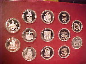 THE OFFICIAL COATS OF ARMS of CANADA-13 SOLID STERLING COINS