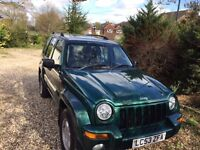 Jeep Cherokee 3.7 automatic, Green, full leather. new MOT, Petrol, 125,000m, needs sensors