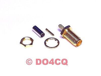 10er Pack SMA Crimp Einbaubuchse (Teflon) für RG174 & RG316 ( J03G )