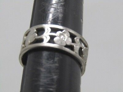 Avon Mountain Flower Band Ring, Size 7.5, and 7.5mm, Silver Tone 1980's-1990's Avon And Flower Ring