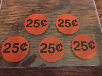 Original Vending 25 Cent Vending Machine Price Decals Stickers Label .25 Qty 5