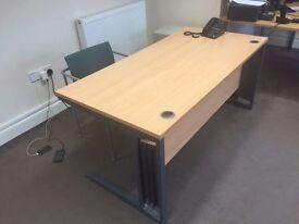 URGENT 2 x Beech wood effect desk 1600mm x 800mm