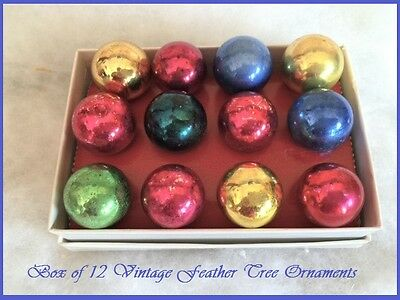 Box of 12 Beautiful Antique Vintage Feather Tree Glass Xmas Ornaments