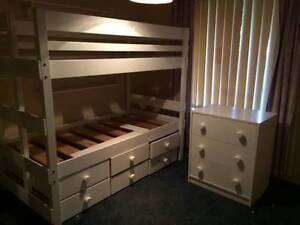 Bunk Bed with Chest of Drawers - White Moana Morphett Vale Area Preview