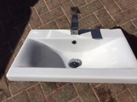 Rectangle Bathroom Sink with Mixer. Althea brand (exclusive Italian ceramic manufacturer)