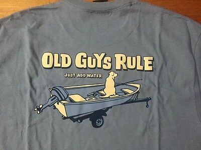 """Old Guys Rule """"Just Add Water"""" fishing, boat and dog men's t'shirt BNWT L- 3XL"""