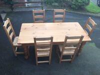 FARMHOUSE TABLE & SIX CHAIRS
