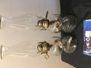 NICE MATCHING ANTIQUE OIL LAMPS $60 FOR BOTH