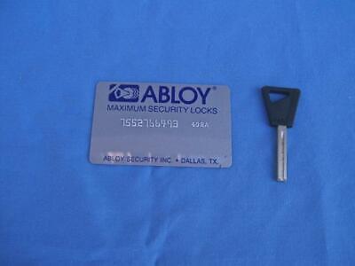 1 Abloy Blank Uncut Key With Key Card