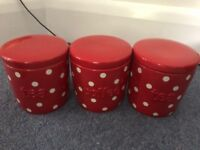 Red spotty tea and coffee ceramic containers (Next)
