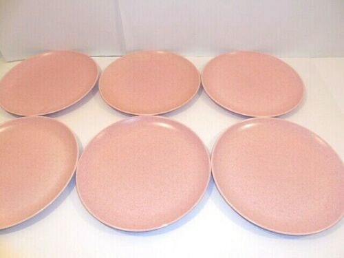 """California Pottery - MCM  Monterey 6 Pink Speckled Dinner Plates 10"""" Dia. Nice!"""