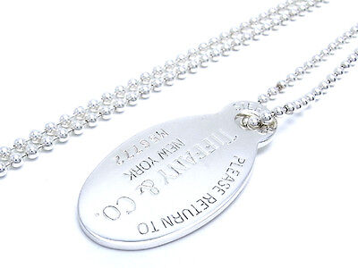 Auth Tiffany & Co. Silver Return To Tiffany Oval Tag Pendant Necklace (DH33184)
