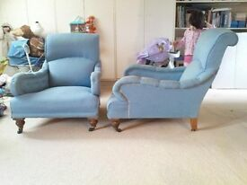 Matching Victorian/Edwardian armchairs. In style of Howard&Sons