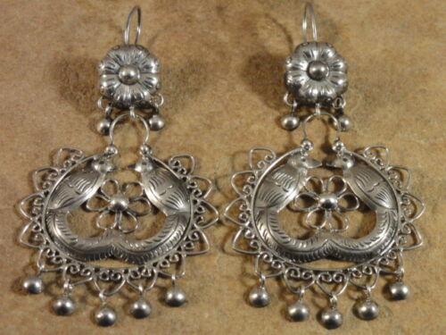 Mexican Mexico Sterling Silver Frida Quetzal Bird Earrings