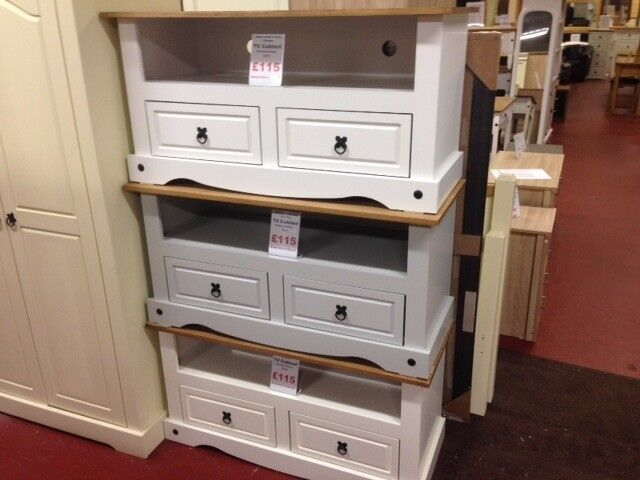 New Cheap Solid Corona Mexican TV unit in white grey or cream, get yours today ONLY £115