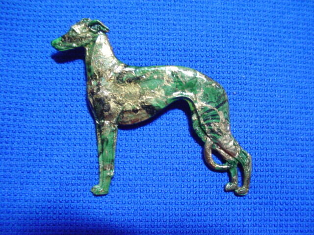 Standing Whippet Greyhound Pewter pin colorful finish OOAK b Cindy A. Conter 21