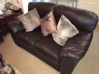 Two seater sofa settee in brown leather bargain