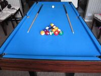 for sale 6ft games table pool, snooker and table tennis complete with balls cues and bats